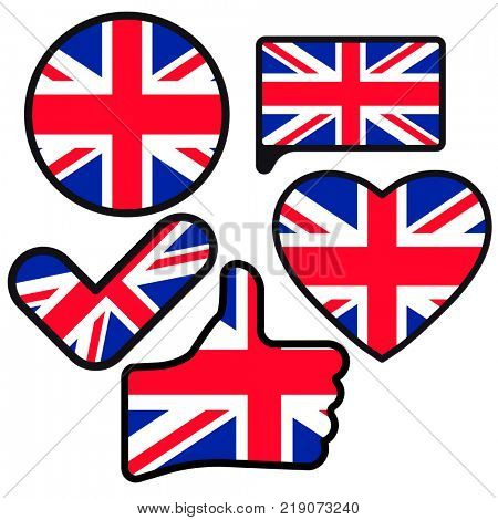 Flag of Great Britain in the shape of Button, Heart, Like, Check mark, flat style, symbol of love for his country, patriotism, icon for Independence Day.