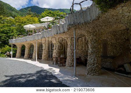 Kawaguchio - Japan, June 14, 2017: Exterior of the  Kubota Itchiku Art Museum in the five lake area inspired by Gaudi