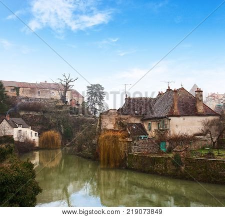 Old houses on the river Armancon, Semur-en-Auxois, eastern France.
