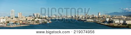 SAN JUAN, PUERTO RICO-DECEMBER 14, 2017: Panoramic overview of the city skyline in San Juan, Puerto Rico and harbor.
