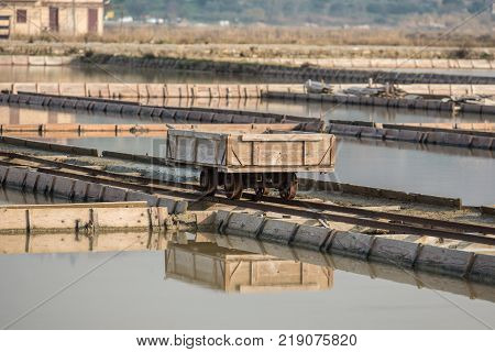 The transport cart in Secovlje Salt Pans natural and culture heritage in Slovenia.