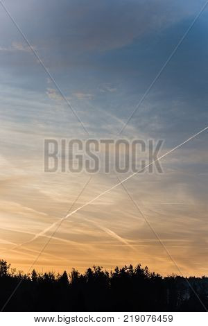 Forest silhouetted against contrails in colorful morning sky with color gradient and rare clouds with copy space.