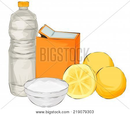 Vector illustration. Natural cleaning products are vinegar, baking soda, lemon - natural cleaning