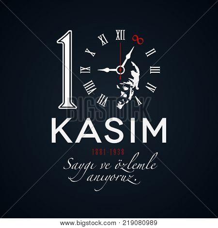 Memorial day of Ataturk. November 10 concept on black background. Death anniversary of Ataturk. Vector illustration template.