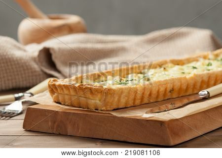 Homebaked Tart With Soft Cheese, Feta, Gouda, Dill