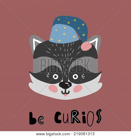 Cute cartoon little raccoon Childish print for nursery, kids apparel, poster, postcard. Vector Illustration