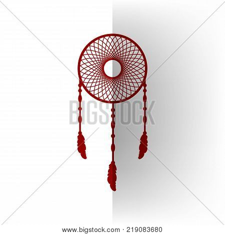 Dream catcher sign. Vector. Bordo icon on white bending paper background.