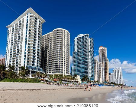 North Miami Beach Florida December 3 2017: Luxury hotels line up the beach in the Sunny Isles Florida