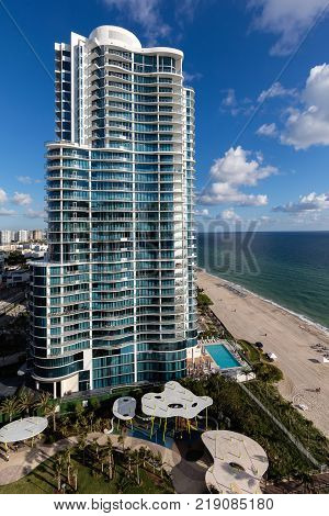 North Miami Beach Florida December 3 2017: Chateau Beach Residences building in Sunny Isles Florida
