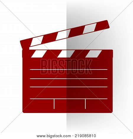 Film clap board cinema sign. Vector. Bordo icon on white bending paper background.