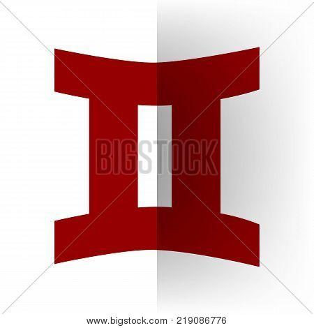 Gemini sign. Vector. Bordo icon on white bending paper background.
