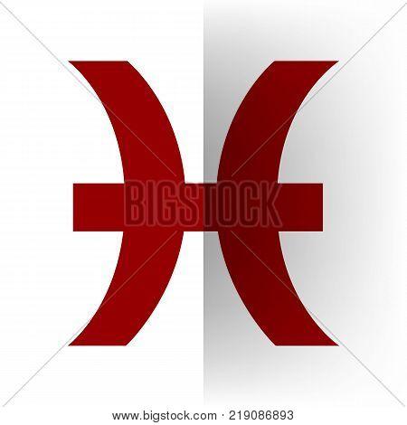 Pisces sign illustration. Vector. Bordo icon on white bending paper background.