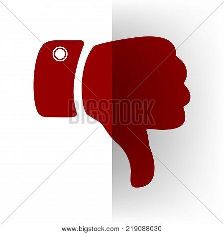 Hand sign illustration. Vector. Bordo icon on white bending paper background.