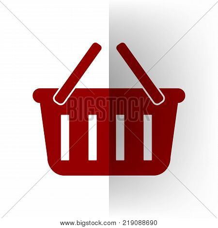 Shopping basket sign. Vector. Bordo icon on white bending paper background.