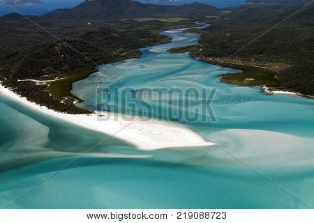 Aerial view of Hill Inlet in the Witsunday Islands, Queensland Australia showing the tip of Whitehaven Beach.