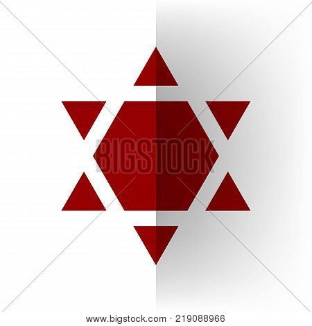 Shield Magen David Star Inverse. Symbol of Israel inverted. Vector. Bordo icon on white bending paper background.