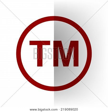 Trade mark sign. Vector. Bordo icon on white bending paper background.