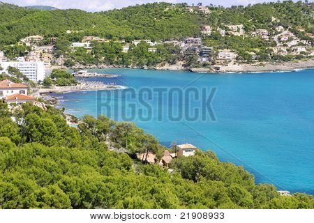 Andratx Camp de Mar in Majorca Balearic Islands pines and mountains bay