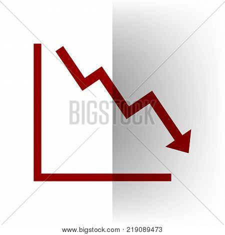 Arrow pointing downwards showing crisis. Vector. Bordo icon on white bending paper background.