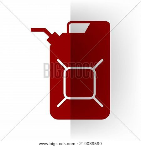 Jerrycan oil sign. Jerry can oil sign. Vector. Bordo icon on white bending paper background.