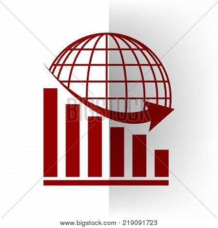 Declining graph with earth. Vector. Bordo icon on white bending paper background.