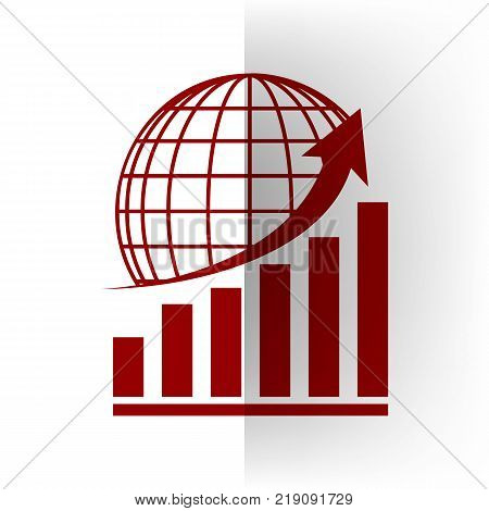 Growing graph with earth. Vector. Bordo icon on white bending paper background.