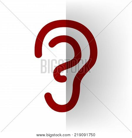 Human anatomy. Ear sign. Vector. Bordo icon on white bending paper background.