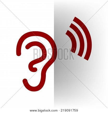 Human anatomy. Ear sign with soundwave. Vector. Bordo icon on white bending paper background.