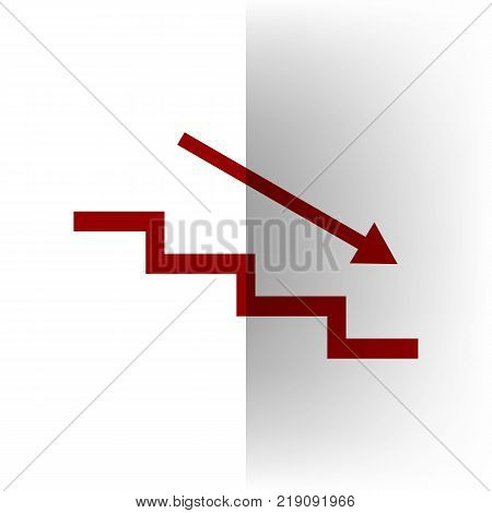 Stair down with arrow. Vector. Bordo icon on white bending paper background.