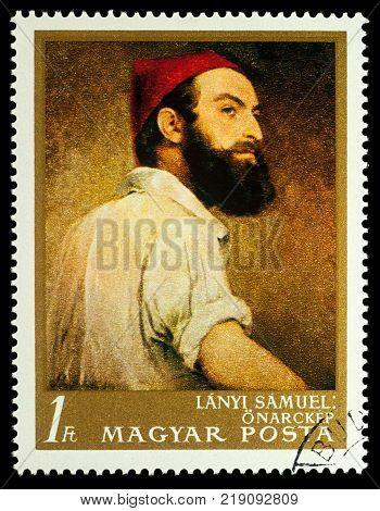 Moscow Russia - December 20 2017: A stamp printed in Hungary shows selfportrait by Samuel Lanyi (1791-1860) series