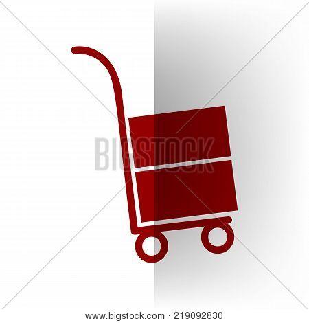 Hand truck sign. Vector. Bordo icon on white bending paper background.