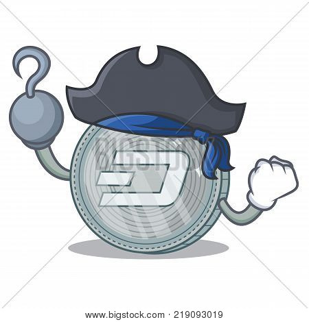 Pirate Dash coin character cartoon vector illustration
