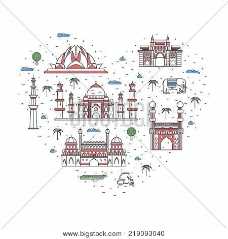 I love India poster with national architectural attractions in heart frame. Historic indian famous landmarks and traditional symbols. Touristic advertising vector layout in trendy linear style.