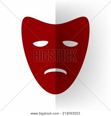 Tragedy theatrical masks. Vector. Bordo icon on white bending paper background.