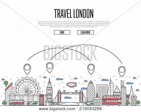 Travel London poster with national architectural attractions and air route symbols in trendy linear style. London famous landmarks on white background. Worldwide airway tourism vector illustration.