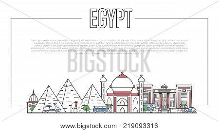 Egypt landmarks panorama with famous ancient architecture in trendy linear style. Egyptian national landmarks, pyramids and minaret on white background. Worldwide touristic tour vector advertising