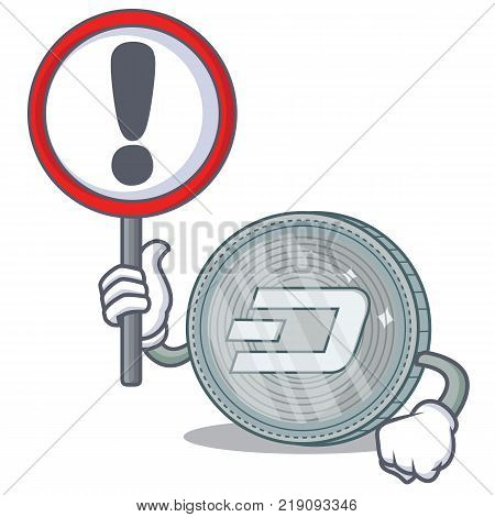 With sign Dash coin character cartoon vector illustration