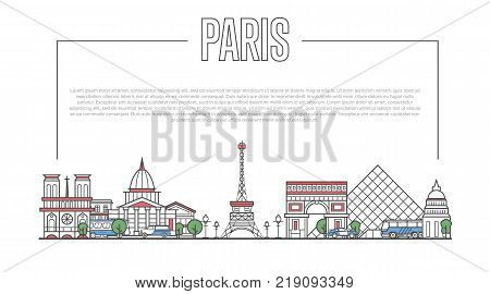 Paris city landmark panorama with famous modern and ancient architecture in trendy linear style. Parisian national landmarks on white background. Worldwide traveling and journey vector concept.