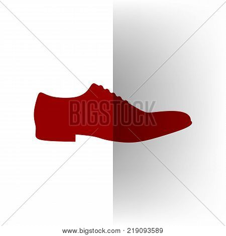 Men Shoes sign. Vector. Bordo icon on white bending paper background.