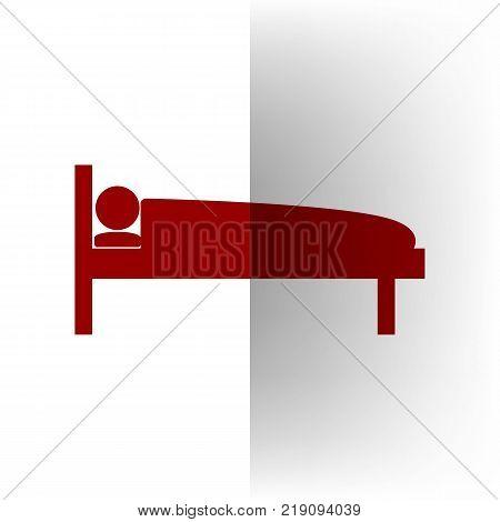 Hospital sign illustration. Vector. Bordo icon on white bending paper background.