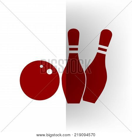 Bowling sign illustration. Vector. Bordo icon on white bending paper background.