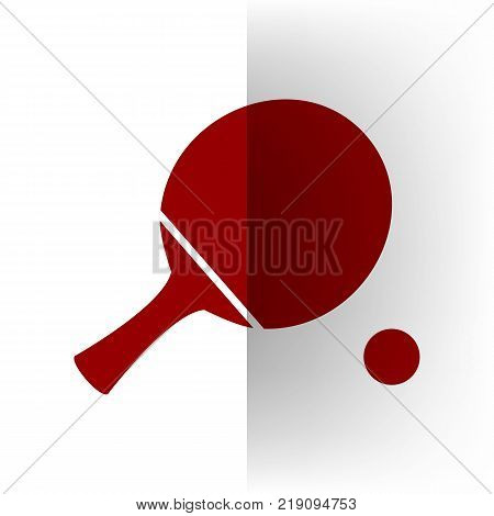 Ping pong paddle with ball. Vector. Bordo icon on white bending paper background.