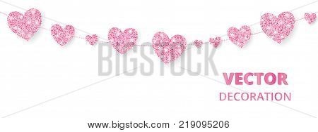Pink hearts garland, seamless border. Vector glitter isolated on white. Great for decoration of Valentine and Mothers day cards, wedding invitations, party posters and flyers, website headers.