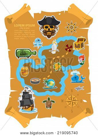 Pirate map, old parchment with pirate map