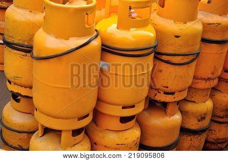 close up of yellow gas Propane tanks