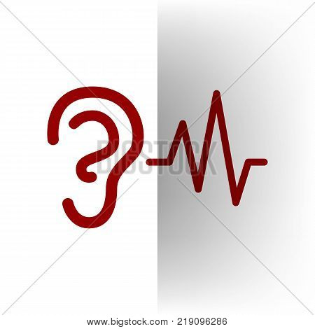 Ear hearing sound sign. Vector. Bordo icon on white bending paper background.