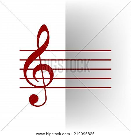 Music violin clef sign. G-clef. Vector. Bordo icon on white bending paper background.