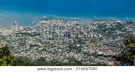 Aerial view of Puerto Plata from the top of Pico Isabel de Torres.