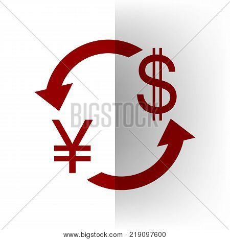 Currency exchange sign. Japan Yen and US Dollar. Vector. Bordo icon on white bending paper background.