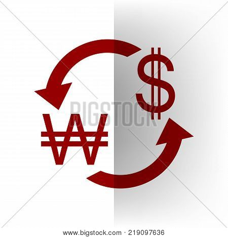 Currency exchange sign. South Korea Won and US Dollar. Vector. Bordo icon on white bending paper background.